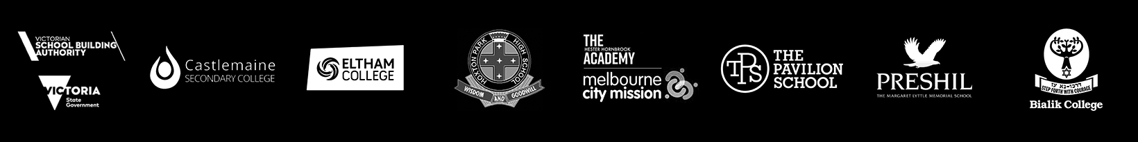 Logos: Victorian School Building Authority | Castlemaine Secondary College | Etltham College | Hoxton Park High | The Hester Hornsbrook Academy | The Pavilion School | Preshil School | Bialik College